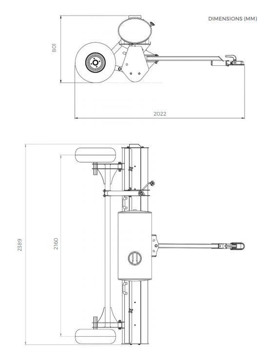 Dimensions du Pulvérisateur à rouleau Chapman W240